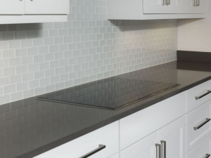 Cemento silestone with an eased edge.